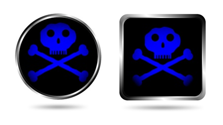 Two buttons with Jolly roger isolated on white background Stock Vector - 10831031