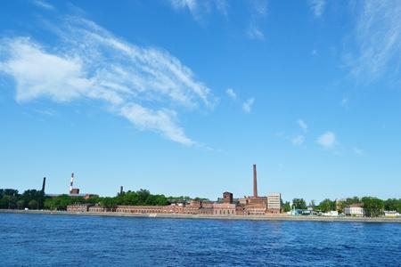 neva: Quay of Neva river in summer sunny day, St.Petersburg, Russia.