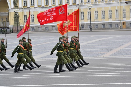 Saint-Petersburg, Russia - April 15, 2011 - Parade rehearsal before celebration of 66th Anniversary of Victory Day on Palace Square