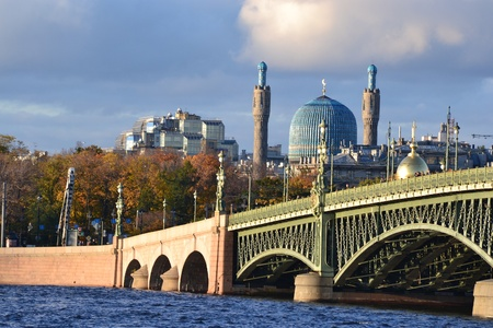 View of the Mosque and Trinity Bridge in St.Petersburg, Russia. Evening photo