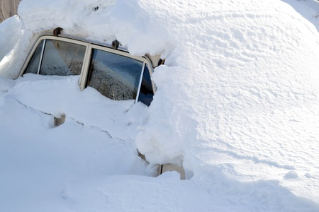 snowbank: The photo of car in snowbank in winter Editorial