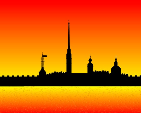 Silhouette of the Peter and Paul Cathedral after sunset, St.Petersburg Stock Vector - 10903718