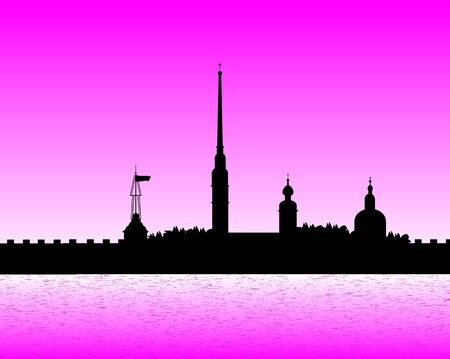 citadel: Silhouette of the Peter and Paul Cathedral at sunset, St.Petersburg