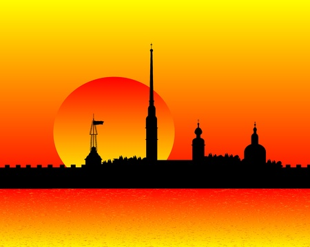 Silhouette of the Peter and Paul Cathedral at sunset, St.Petersburg Stock Vector - 10903721