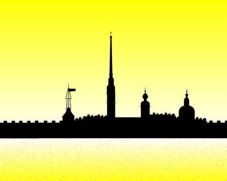 Silhouette of the Peter and Paul Cathedral at sunset, St.Petersburg Stock Vector - 10903717