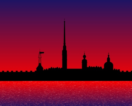 Silhouette of the Peter and Paul Cathedral after sunset, St.Petersburg