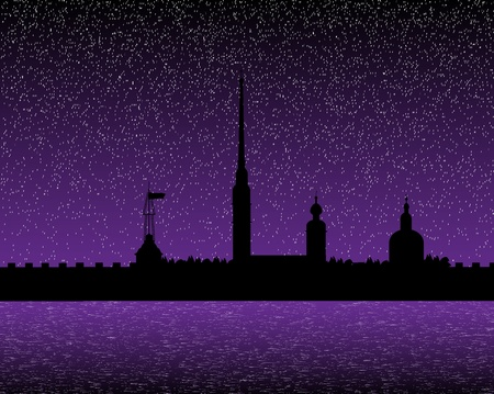 Silhouette of the Peter and Paul Cathedral at night, St.Petersburg Stock Vector - 10903724