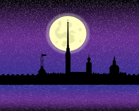 citadel: Silhouette of the Peter and Paul Cathedral at night, St.Petersburg