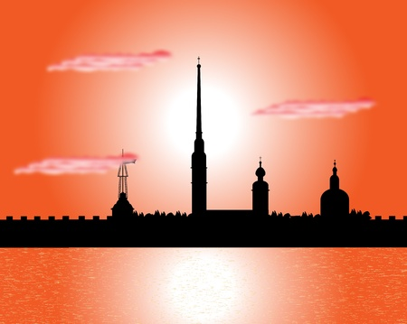 Silhouette of the Peter and Paul Cathedral at sunset, St.Petersburg Stock Vector - 10903739