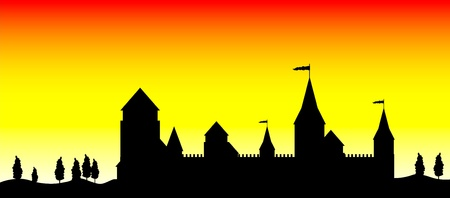 stronghold: Black silhouette of the castle at sunset - vector
