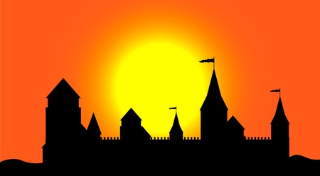 Black silhouette of the castle at sunset - vector Stock Vector - 10903707