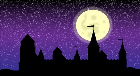 Black silhouette of the castle at night - vector Vector