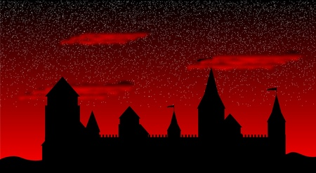 Black silhouette of the castle after sunset - vector Vector