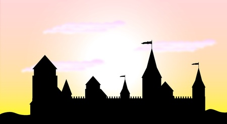 castle tower: Black silhouette of the castle at sunrise - vector Illustration