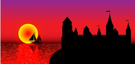 View of the old fort on the beach at sunset - vector Stock Vector - 10903736