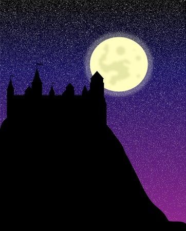 stronghold: Black silhouette of the castle on a high hill at night - vector