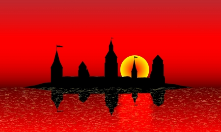 isles: Black silhouette of the castle on the island at sunset - vector Illustration