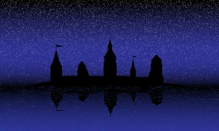 stronghold: Black silhouette of the castle on the island at night - vector
