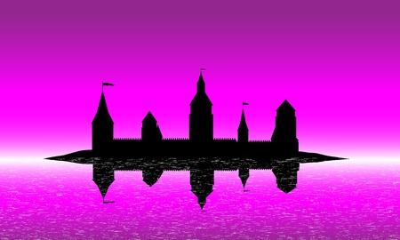 Black silhouette of the castle on the island after sunset - vector Vector