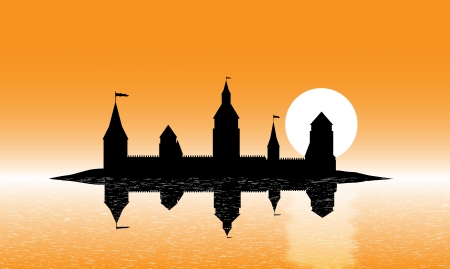 Black silhouette of the castle on the island at sunset - vector Vector