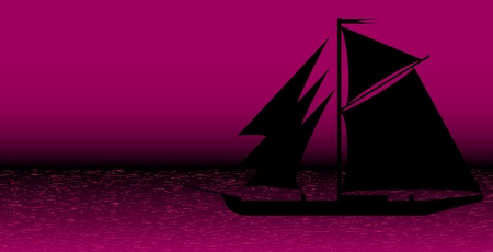 Black ship silhouette on sea after sunset - vector Stock Vector - 10903747