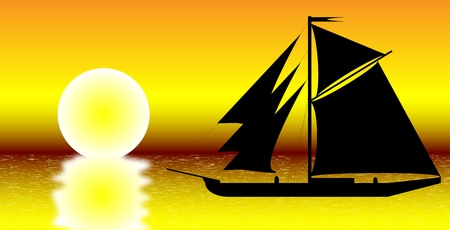 schooner: Black ship silhouette on sea at sunset - vector