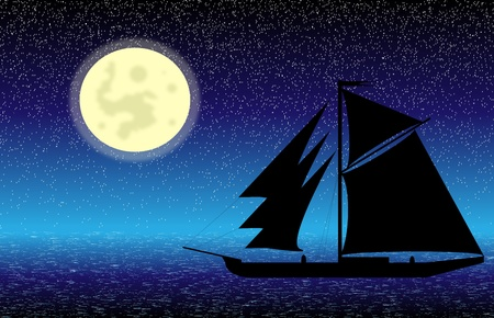 schooner: Black ship silhouette on sea at night - vector