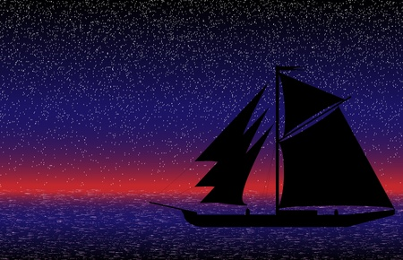 Black ship silhouette on sea after sunset - vector Vector