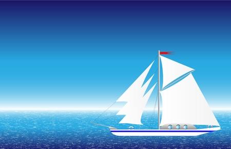 Yaght en la ilustración del vector del mar,.