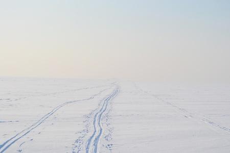 Ski tracks on frozen Gulf of Finland, sunny winter day, Russia. photo
