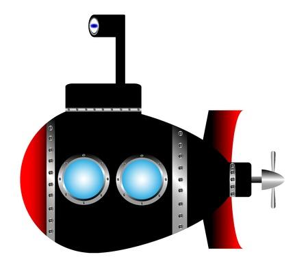 Submarine on white background - vector illustration. Vector