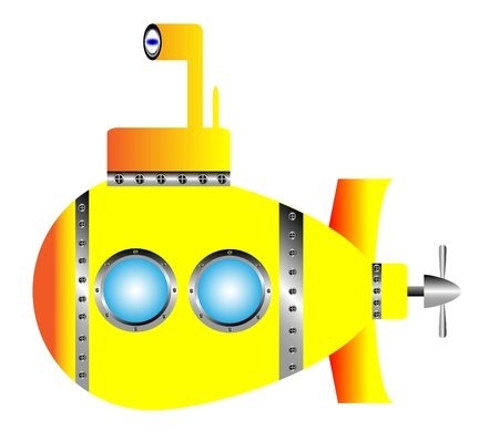 Yellow submarine on white background - vector illustration.