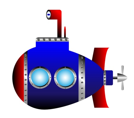 navy blue: Blue submarine on white background - vector illustration. Illustration