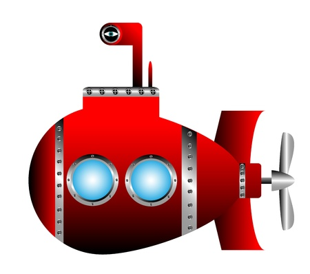 cartoon submarine: Red submarine on white background - vector illustration. Illustration