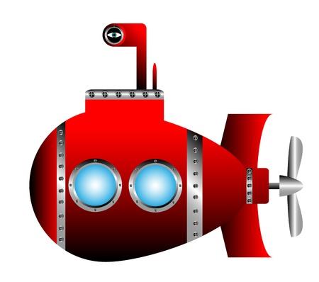 Red submarine on white background - vector illustration. Stock Illustratie