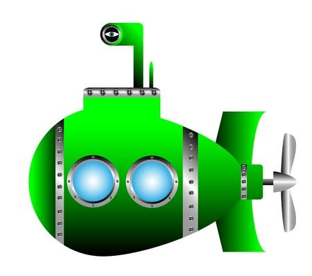 Sous-marin vert sur fond blanc - illustration vectorielle.