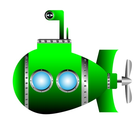 submarino: Submarino de color verde sobre fondo blanco - ilustración vectorial. Vectores