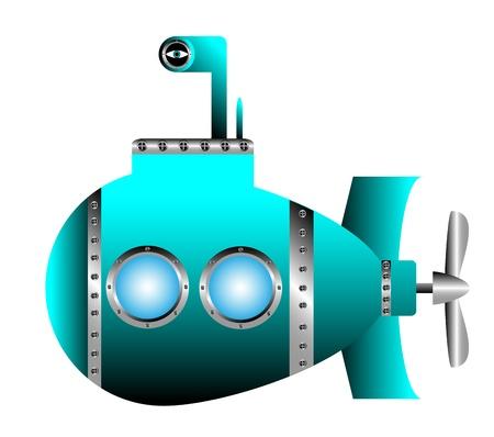 Blue submarine on white background - vector illustration. Vector