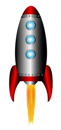 Starting rocket on white background - vector illustration. Vector