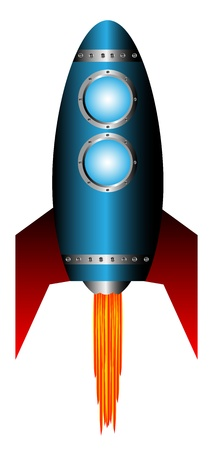 Starting blue rocket on white background - vector illustration. Vector