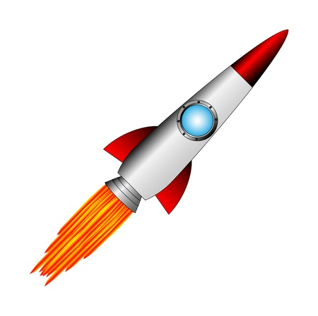 retro future: Starting rocket on white background - vector illustration.