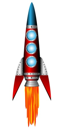 Starting red rocket on white background - vector illustration.