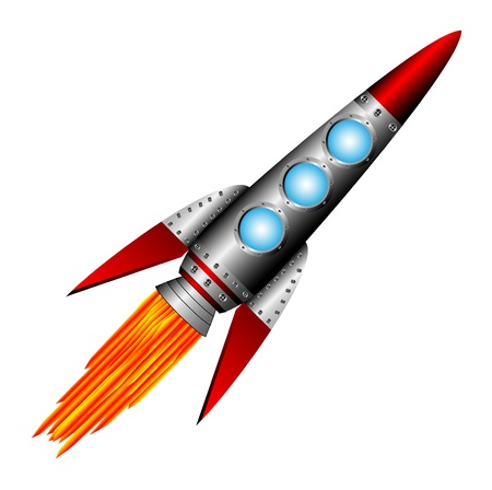 rocketship: Starting rocket on white background - vector illustration.