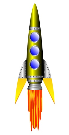 Starting yellow rocket on white background - vector illustration. Vector