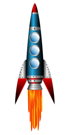 Starting blue rocket on white background - vector illustration.
