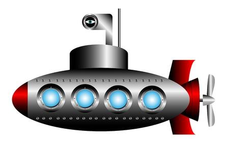 Submarine auf weißem Hintergrund - Vektor-Illustration. Standard-Bild - 10946116