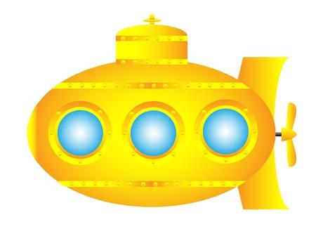 submarino: Submarino amarillo sobre fondo blanco - ilustración vectorial. Vectores