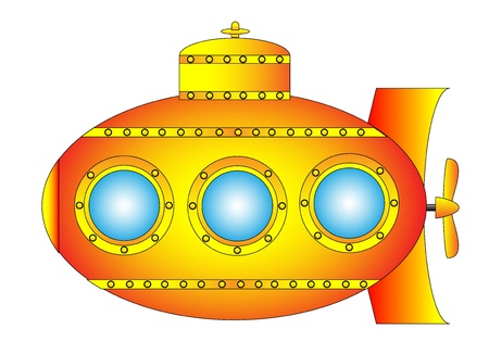 Yellow submarine on white background - vector illustration. Vector