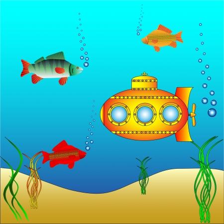 carp fishing: Sottomarino giallo sotto l'acqua circondato da pesci e alghe - vettore