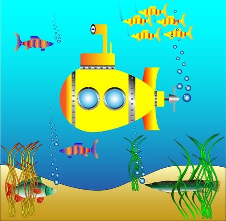 saltwater fish: Sottomarino giallo sotto l'acqua circondato da pesci e alghe - vettore